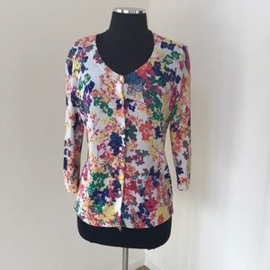 Talbots MP floral spring cardigan